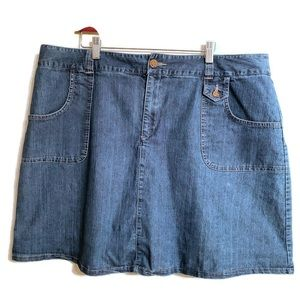 Volup Sz 18 Denim Skirt Knee Length Boho Western